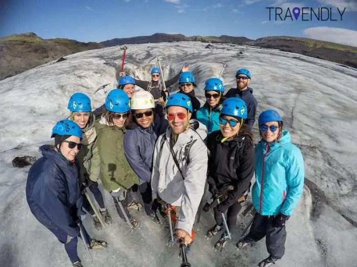 Glacier hike selfie on Solheimajokull, Iceland