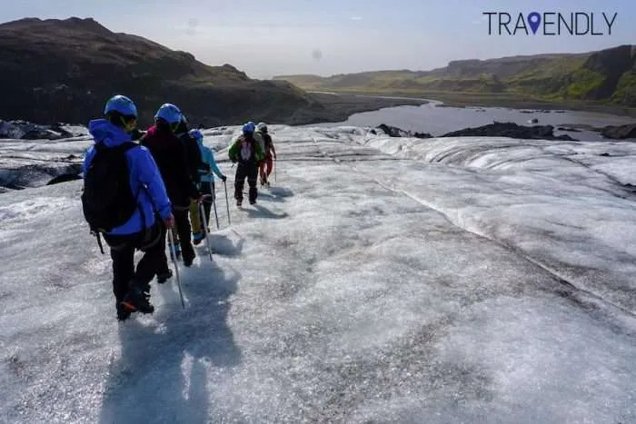 Glacier walk on Solheimajokull in southern Iceland