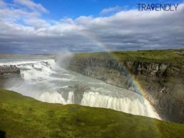 Rainbow over the Gullfoss waterfall Iceland