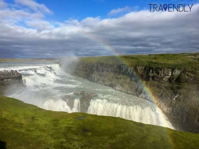 Rainbow over the Gullfoss waterfall Iceland