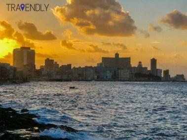 Sunset along the Malecon in Havana