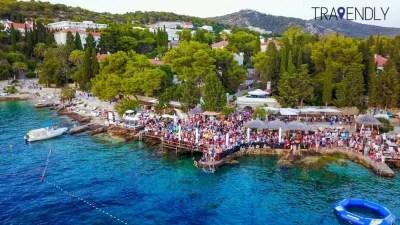 Drone shot of hula hula beach club in Hvar, Croatia