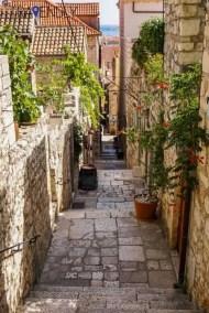 Medieval city streets of Hvar, Croatia
