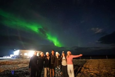Northern Lights outside our house in Iceland
