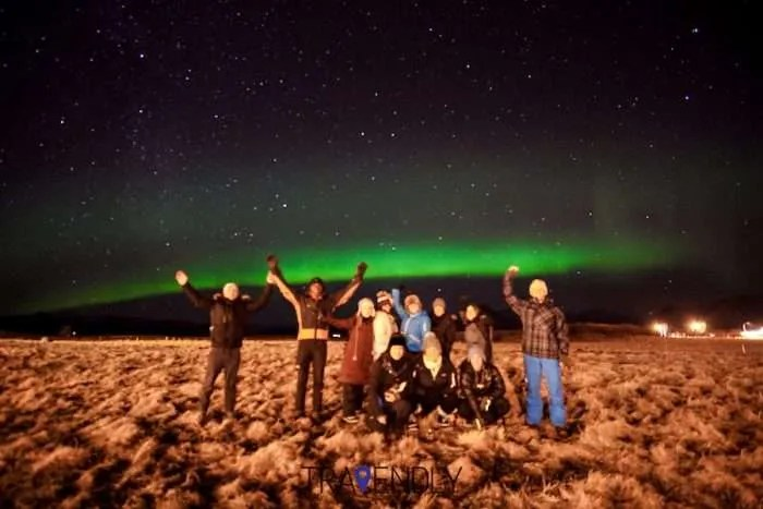 Northern Lights in Iceland in a farm field