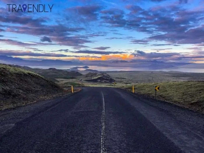 Scenic Iceland road under sunset