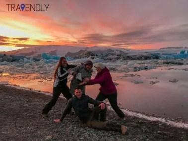 Carefully posing by the Jokulsarlon lagoon Iceland