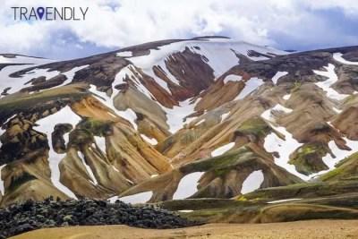 Snow capped mountains of Landmannalaugar Iceland