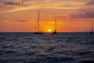 Sunset catamaran cruise in Santorini