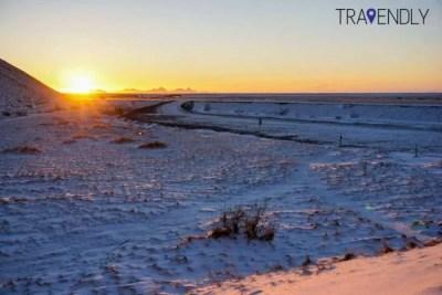 Winter sunset by Seljalandsfoss in Iceland