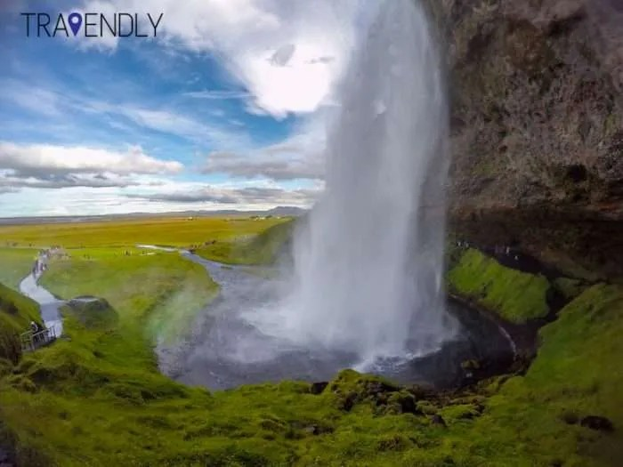 Beautiful summer sun over the Seljalandsfoss waterfall Iceland