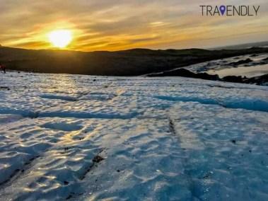 Under an 11am sunrise on Skaftafell glacier in Iceland