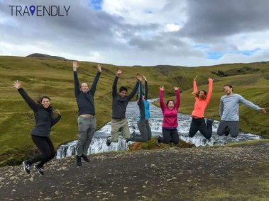Jump shot near the Skogafoss waterfall Iceland