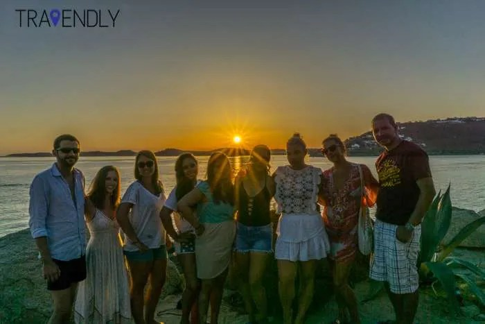 Beautiful sunset in Mykonos Island