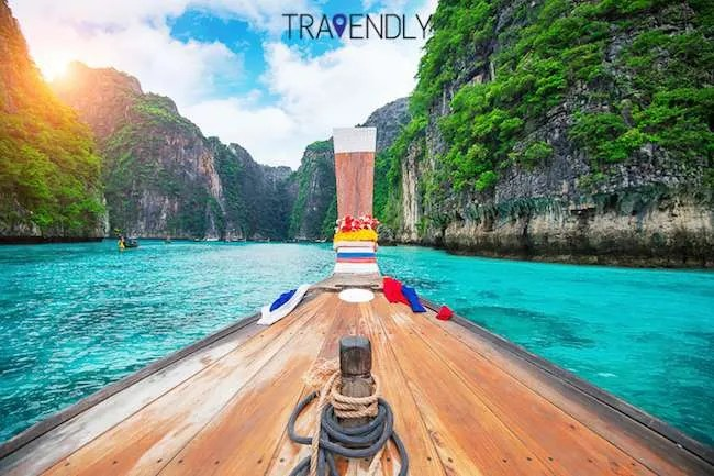 Long boat in Maya Bay in Phi Phi Islands