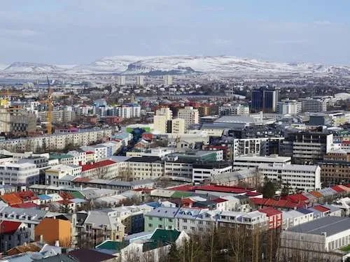 Reykjavik Iceland city skyline winter view