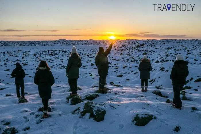 Capturing the Icelandic winter sunrise over a lava field