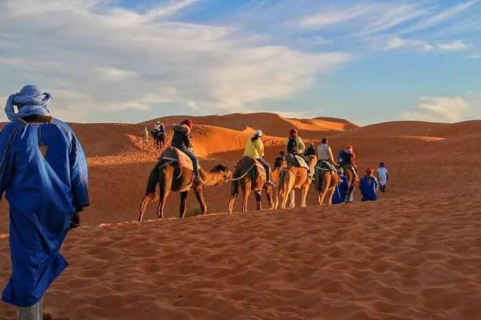 Camel riding in the Sahara Desert Morocco