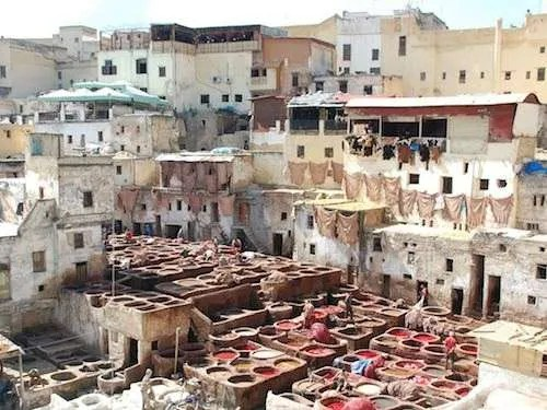 Inside a tannery in Fes Morocco