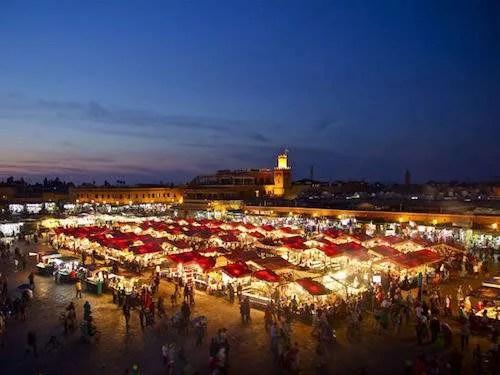 Marrakech medina at night