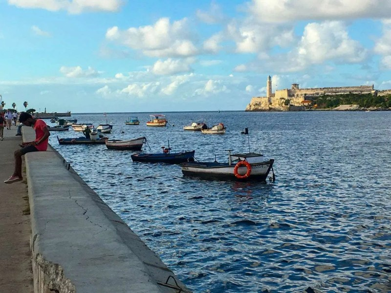 Views of the old castle from the Malecon in Havana Cuba