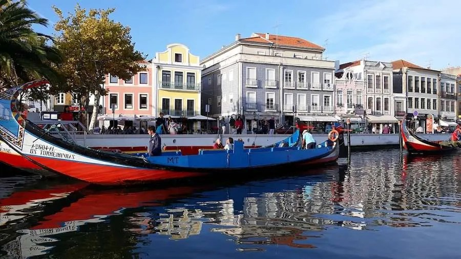 Beautiful canals in Aveiro Portugal