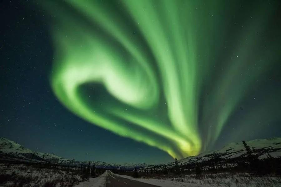 Bright aurora swirl