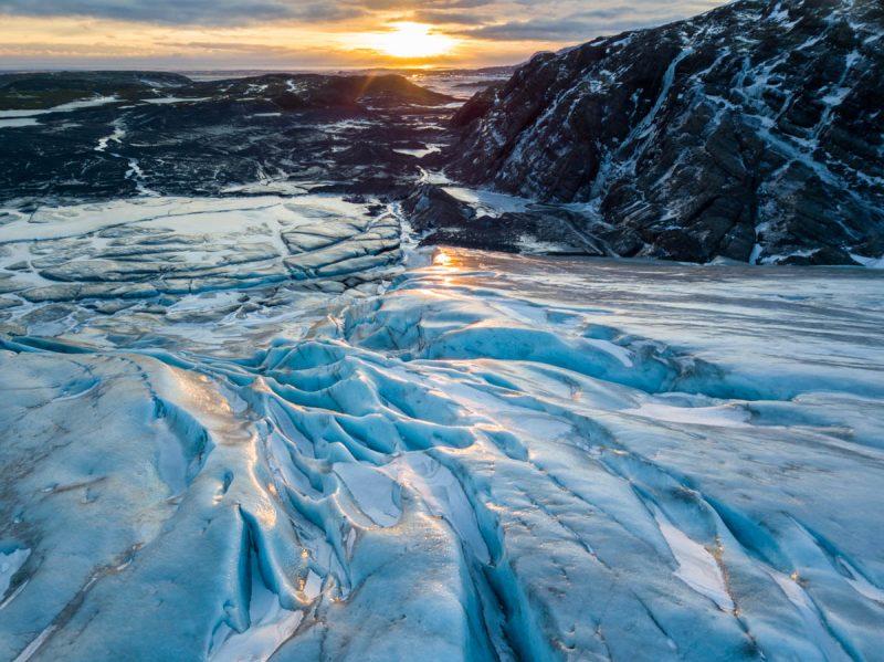 Beautiful sunset over a glacier