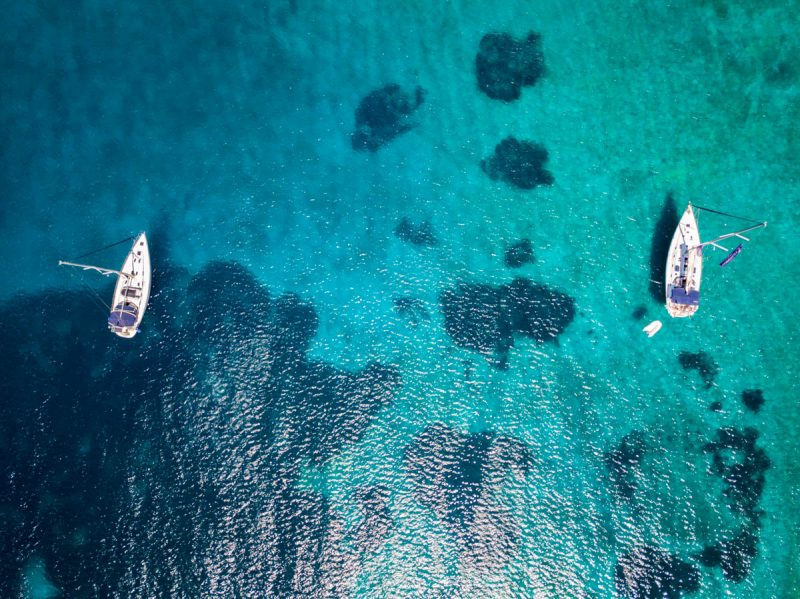 Aerial view of two sailing boats off Naxos Greece