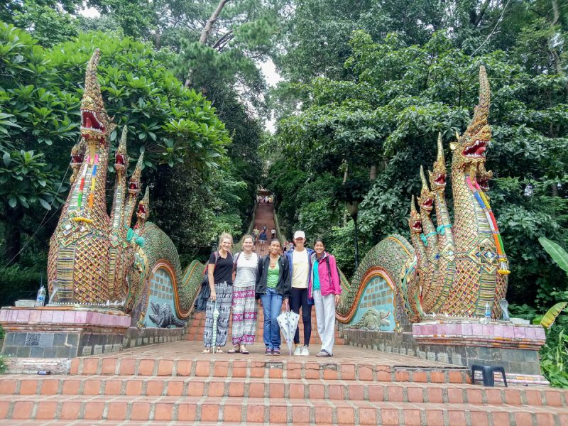 At the entrance to Doi Suthep in Chiang Mai Thailand