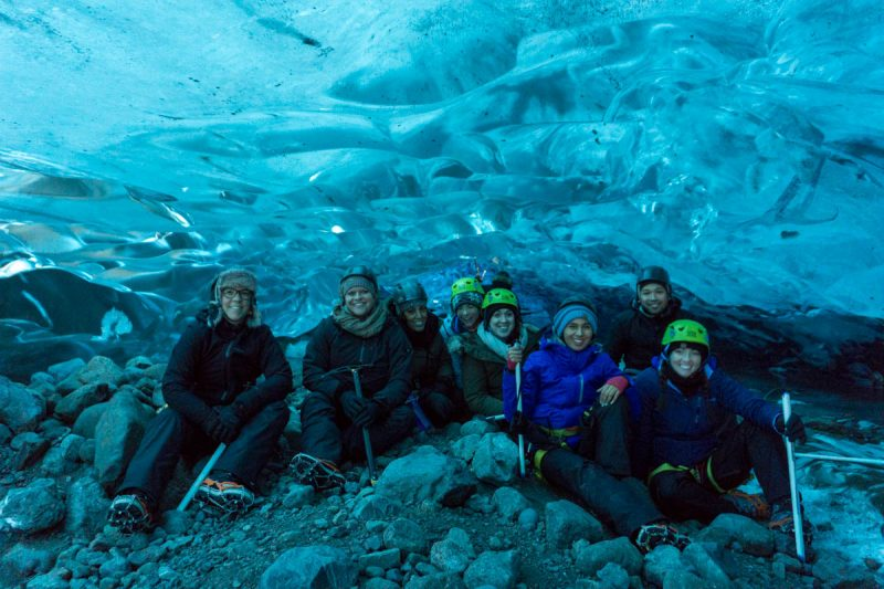 Group shot in ice cave in Iceland