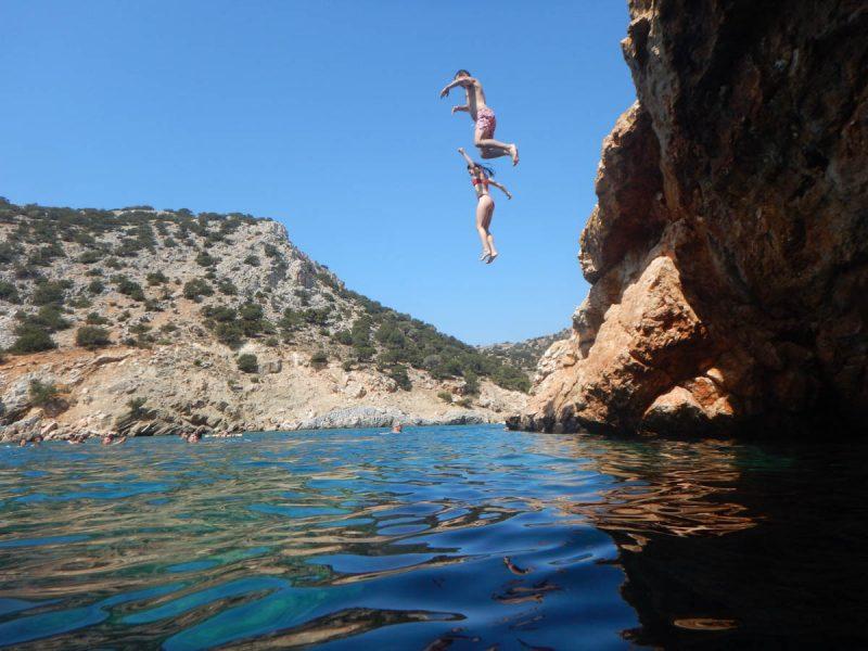 Cliff jumping off Naxos Island Greece