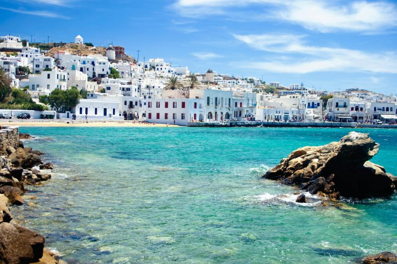 Seaside view of Mykonos Town Mykonos Greece