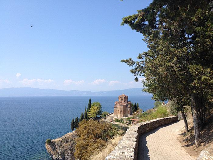 Karine (en PVT Belgique) au Lac Ohrid en Macédoine