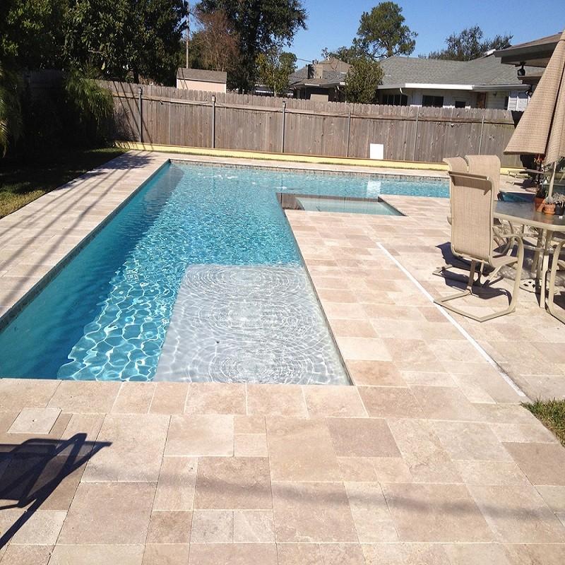 Dalle Reflet pierre calcaire naturelle travertin pour terrasse piscine