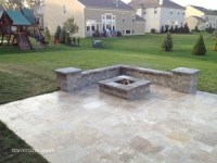 Travertine Retaining Wall and Fire Pit