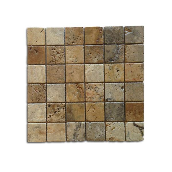 2x2 Noce Weave Tumbled Travertine Mosaic