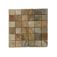 2x2 Noce Weave Tumbled Travertine Mosaic | Travertine ...