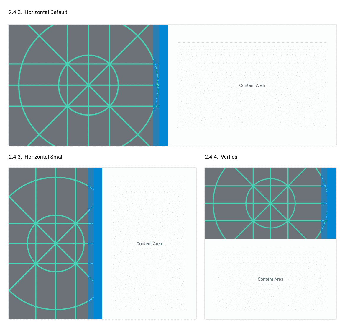Example of different responsive card styles.