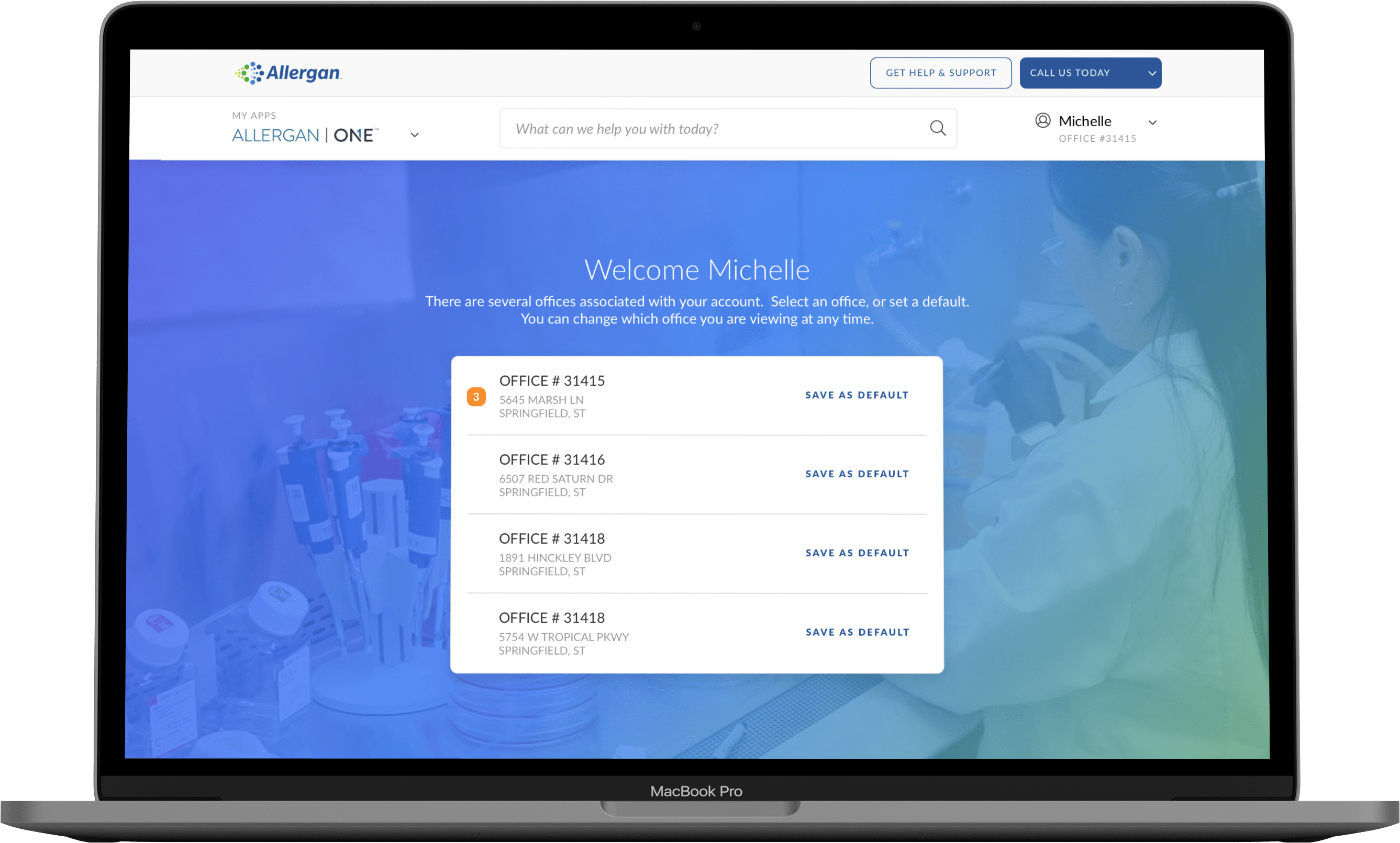 Preview of changing which office you are logging in from.