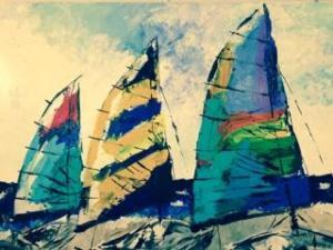 SOLD Sarah Tinsley Parker Sailboats Acrylic on Canvas 36x48