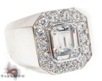 14K White CZ Ring 32699 Mens Jewelry Ring White Gold 14k