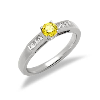Yellow Diamond Promise Ring in White Gold 16192