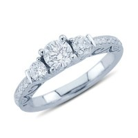 Classy Three Stone Diamond Promise Ring In 14K White Gold ...