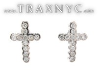 Diamond Cross Earrings 22123 Mens Diamond Earring White