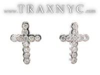 Diamond Cross Earrings 22123 Mens Diamond Earring White