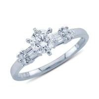Platinum Sparkling Round and Baguette Cut Diamond Promise ...