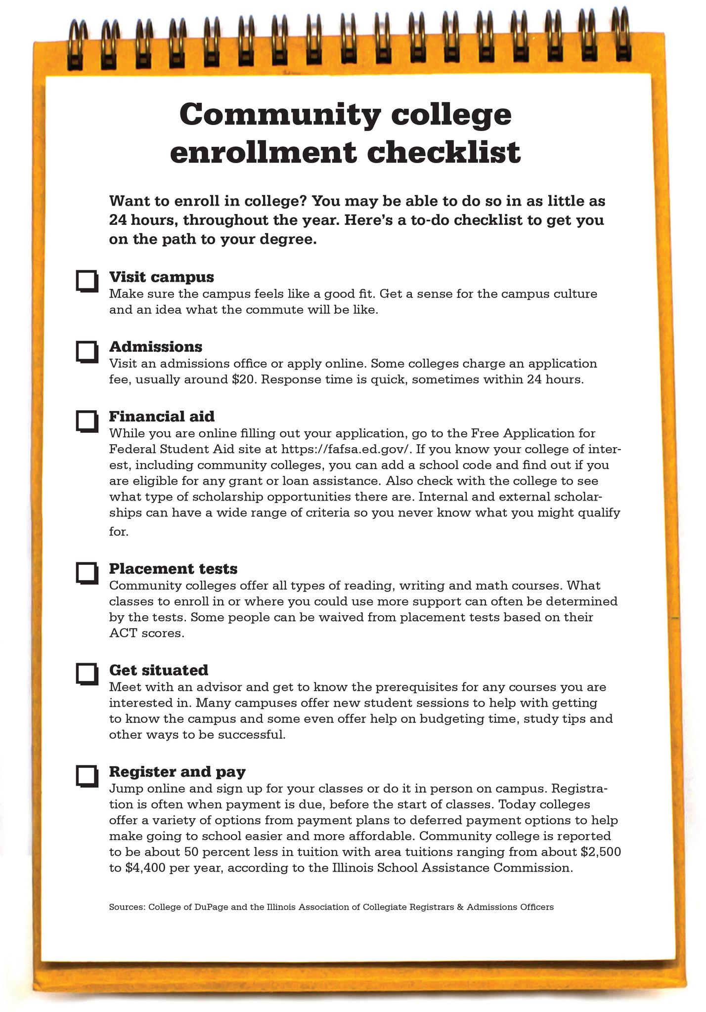 Community college enrollment checklist  Chicago Tribune