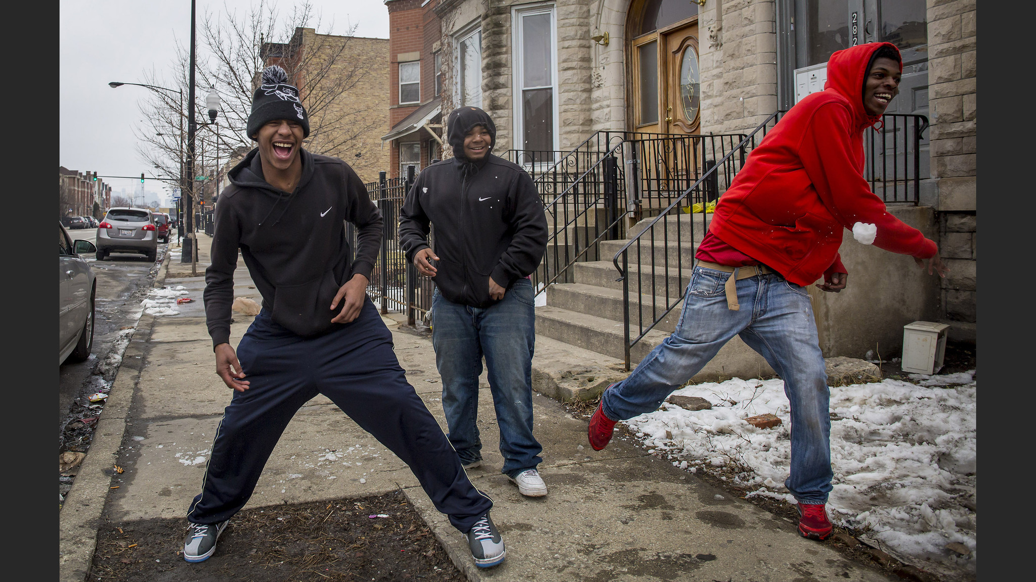 Snowball fight in East Garfield Park  Chicago Tribune