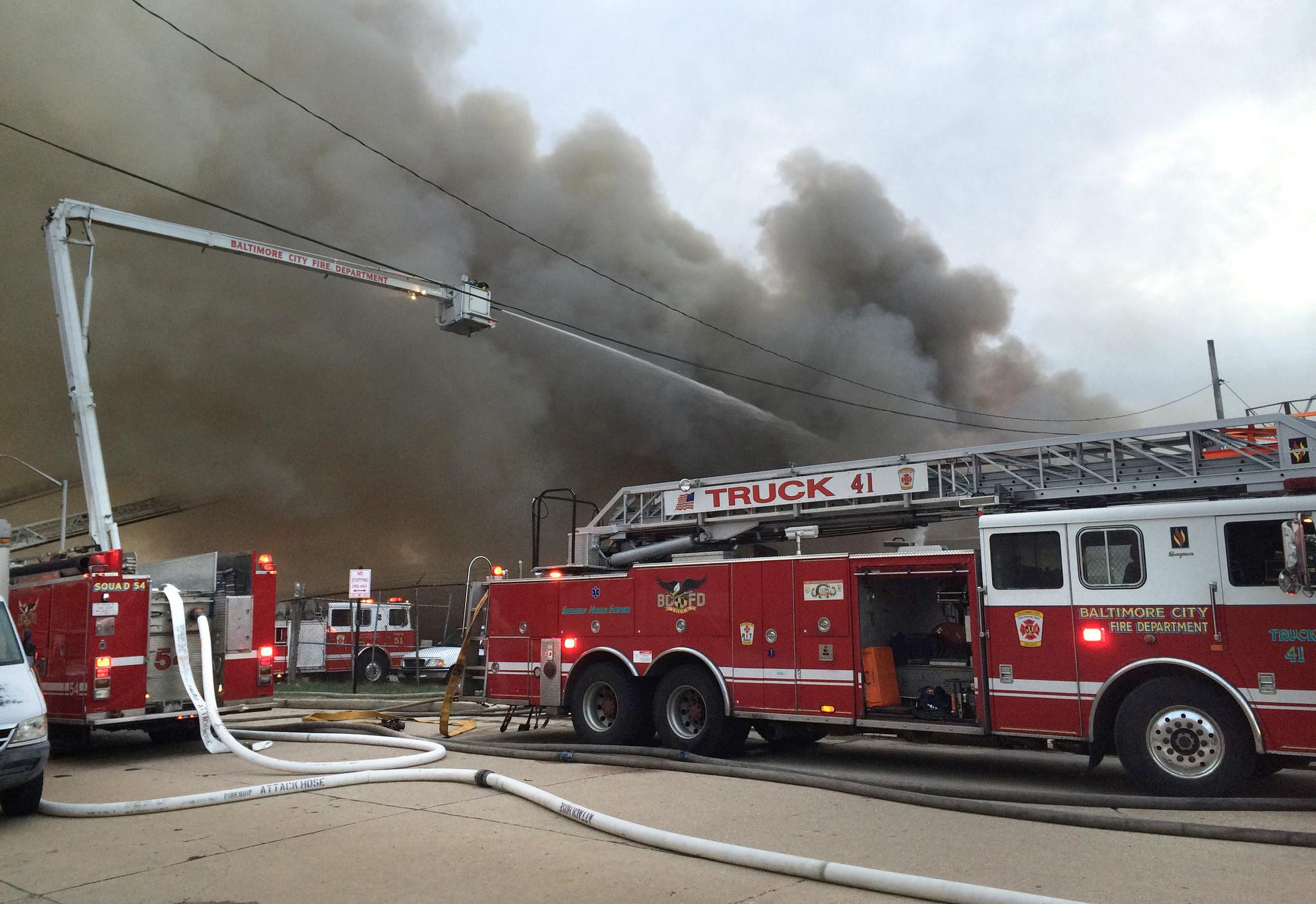 Threealarm fire on Ellwood Avenue  Baltimore Sun
